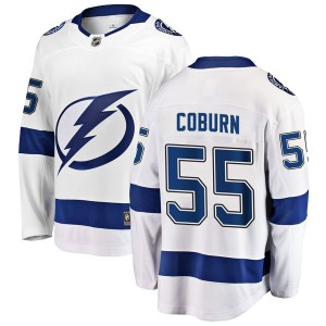 Tampa Bay Lightning Braydon Coburn Official White Fanatics Branded Breakaway Youth Away NHL Hockey Jersey