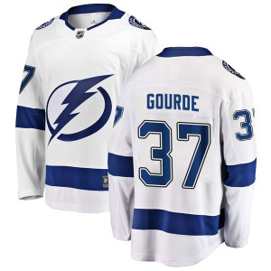Tampa Bay Lightning Yanni Gourde Official White Fanatics Branded Breakaway Youth Away NHL Hockey Jersey