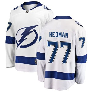 Tampa Bay Lightning Victor Hedman Official White Fanatics Branded Breakaway Youth Away NHL Hockey Jersey