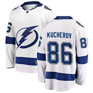 Tampa Bay Lightning Nikita Kucherov Official White Fanatics Branded Breakaway Youth Away NHL Hockey Jersey