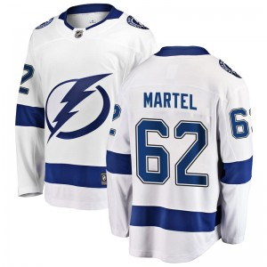 Tampa Bay Lightning Danick Martel Official White Fanatics Branded Breakaway Youth Away NHL Hockey Jersey