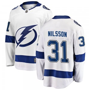 Tampa Bay Lightning Anders Nilsson Official White Fanatics Branded Breakaway Youth Away NHL Hockey Jersey
