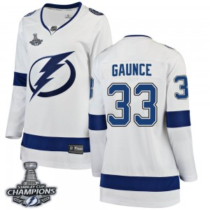 Tampa Bay Lightning Cameron Gaunce Official White Fanatics Branded Breakaway Women's Away 2020 Stanley Cup Champions NHL Hockey