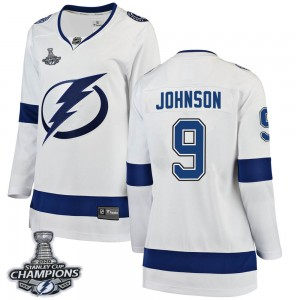 Tampa Bay Lightning Tyler Johnson Official White Fanatics Branded Breakaway Women's Away 2020 Stanley Cup Champions NHL Hockey J