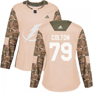 Tampa Bay Lightning Ross Colton Official Camo Adidas Authentic Women's Veterans Day Practice NHL Hockey Jersey