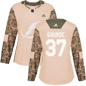 Tampa Bay Lightning Yanni Gourde Official Camo Adidas Authentic Women's Veterans Day Practice NHL Hockey Jersey