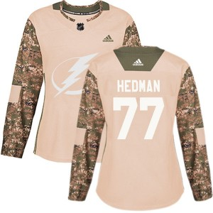 Tampa Bay Lightning Victor Hedman Official Camo Adidas Authentic Women's Veterans Day Practice NHL Hockey Jersey