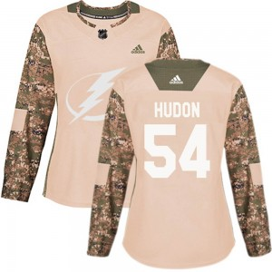 Tampa Bay Lightning Charles Hudon Official Camo Adidas Authentic Women's Veterans Day Practice NHL Hockey Jersey