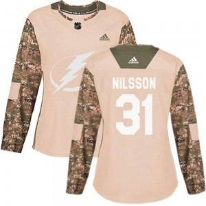 Tampa Bay Lightning Anders Nilsson Official Camo Adidas Authentic Women's Veterans Day Practice NHL Hockey Jersey
