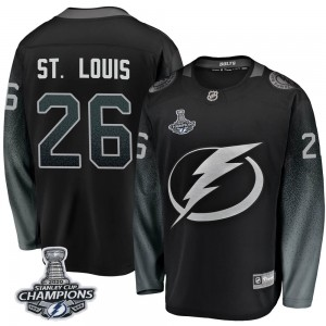 Tampa Bay Lightning Martin St. Louis Official Black Fanatics Branded Breakaway Youth Alternate 2020 Stanley Cup Champions NHL Ho