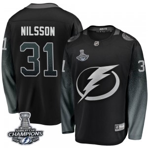 Tampa Bay Lightning Anders Nilsson Official Black Fanatics Branded Breakaway Youth Alternate 2020 Stanley Cup Champions NHL Hock