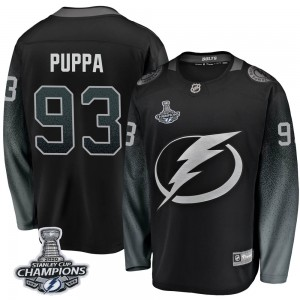 Tampa Bay Lightning Daren Puppa Official Black Fanatics Branded Breakaway Youth Alternate 2020 Stanley Cup Champions NHL Hockey