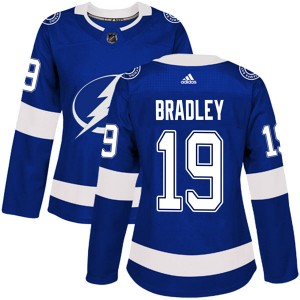 Tampa Bay Lightning Brian Bradley Official Blue Adidas Authentic Women's Home NHL Hockey Jersey