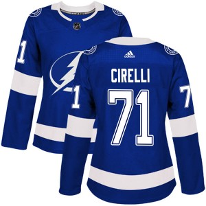 Tampa Bay Lightning Anthony Cirelli Official Blue Adidas Authentic Women's Home NHL Hockey Jersey