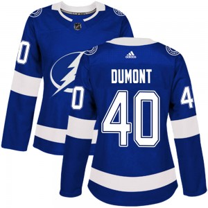 Tampa Bay Lightning Gabriel Dumont Official Blue Adidas Authentic Women's Home NHL Hockey Jersey