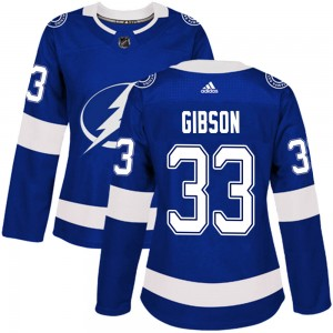 Tampa Bay Lightning Christopher Gibson Official Blue Adidas Authentic Women's Home NHL Hockey Jersey