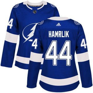 Tampa Bay Lightning Roman Hamrlik Official Blue Adidas Authentic Women's Home NHL Hockey Jersey