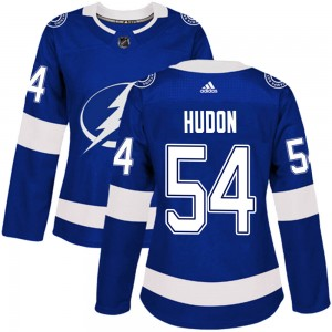 Tampa Bay Lightning Charles Hudon Official Blue Adidas Authentic Women's Home NHL Hockey Jersey