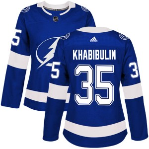 Tampa Bay Lightning Nikolai Khabibulin Official Blue Adidas Authentic Women's Home NHL Hockey Jersey