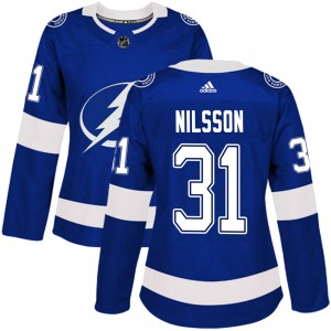 Tampa Bay Lightning Anders Nilsson Official Blue Adidas Authentic Women's Home NHL Hockey Jersey