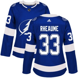 Tampa Bay Lightning Manon Rheaume Official Blue Adidas Authentic Women's Home NHL Hockey Jersey