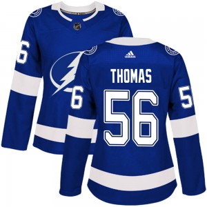 Tampa Bay Lightning Ben Thomas Official Blue Adidas Authentic Women's Home NHL Hockey Jersey