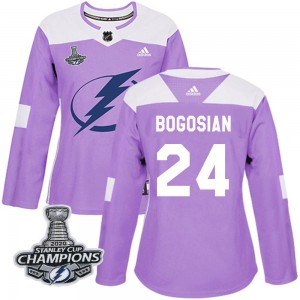 Tampa Bay Lightning Zach Bogosian Official Purple Adidas Authentic Women's Fights Cancer Practice 2020 Stanley Cup Champions NHL