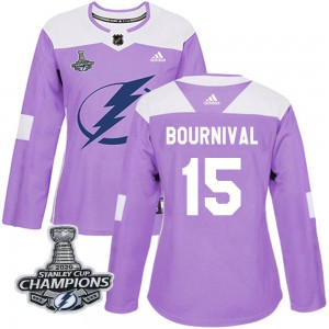 Tampa Bay Lightning Michael Bournival Official Purple Adidas Authentic Women's Fights Cancer Practice 2020 Stanley Cup Champions