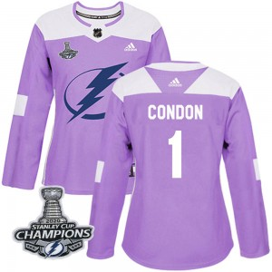 Tampa Bay Lightning Mike Condon Official Purple Adidas Authentic Women's Fights Cancer Practice 2020 Stanley Cup Champions NHL H