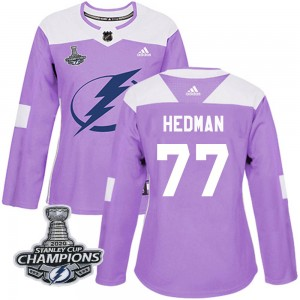 Tampa Bay Lightning Victor Hedman Official Purple Adidas Authentic Women's Fights Cancer Practice 2020 Stanley Cup Champions NHL