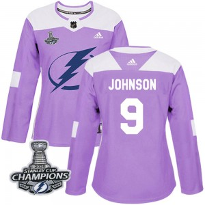 Tampa Bay Lightning Tyler Johnson Official Purple Adidas Authentic Women's Fights Cancer Practice 2020 Stanley Cup Champions NHL