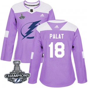 Tampa Bay Lightning Ondrej Palat Official Purple Adidas Authentic Women's Fights Cancer Practice 2020 Stanley Cup Champions NHL