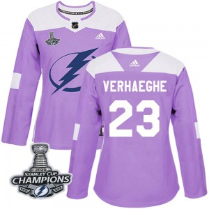 Tampa Bay Lightning Carter Verhaeghe Official Purple Adidas Authentic Women's Fights Cancer Practice 2020 Stanley Cup Champions