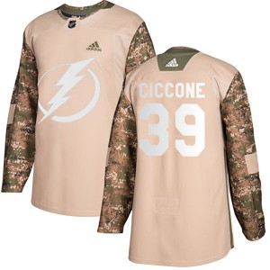 Tampa Bay Lightning Enrico Ciccone Official Camo Adidas Authentic Youth Veterans Day Practice NHL Hockey Jersey