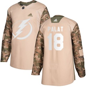 Tampa Bay Lightning Ondrej Palat Official Camo Adidas Authentic Youth Veterans Day Practice NHL Hockey Jersey