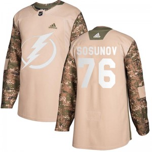 Tampa Bay Lightning Oleg Sosunov Official Camo Adidas Authentic Youth Veterans Day Practice NHL Hockey Jersey