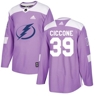 Tampa Bay Lightning Enrico Ciccone Official Purple Adidas Authentic Youth Fights Cancer Practice NHL Hockey Jersey