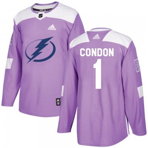 Tampa Bay Lightning Mike Condon Official Purple Adidas Authentic Youth Fights Cancer Practice NHL Hockey Jersey