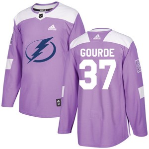 Tampa Bay Lightning Yanni Gourde Official Purple Adidas Authentic Youth Fights Cancer Practice NHL Hockey Jersey