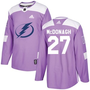 Tampa Bay Lightning Ryan McDonagh Official Purple Adidas Authentic Youth Fights Cancer Practice NHL Hockey Jersey