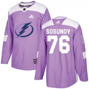 Tampa Bay Lightning Oleg Sosunov Official Purple Adidas Authentic Youth Fights Cancer Practice NHL Hockey Jersey