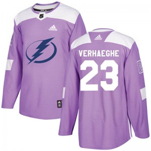 Tampa Bay Lightning Carter Verhaeghe Official Purple Adidas Authentic Youth Fights Cancer Practice NHL Hockey Jersey