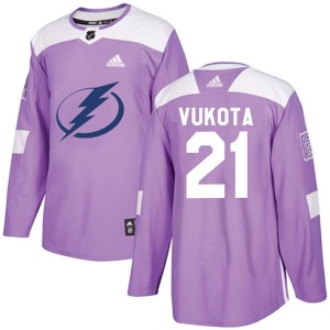 Tampa Bay Lightning Mick Vukota Official Purple Adidas Authentic Youth Fights Cancer Practice NHL Hockey Jersey