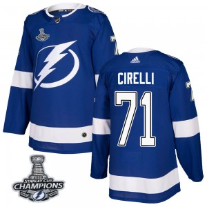 Tampa Bay Lightning Anthony Cirelli Official Blue Adidas Authentic Adult Home 2020 Stanley Cup Champions NHL Hockey Jersey