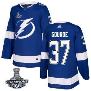 Tampa Bay Lightning Yanni Gourde Official Blue Adidas Authentic Adult Home 2020 Stanley Cup Champions NHL Hockey Jersey
