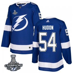 Tampa Bay Lightning Charles Hudon Official Blue Adidas Authentic Adult Home 2020 Stanley Cup Champions NHL Hockey Jersey