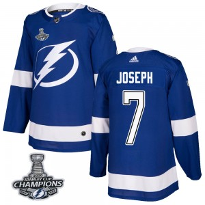 Tampa Bay Lightning Mathieu Joseph Official Blue Adidas Authentic Adult Home 2020 Stanley Cup Champions NHL Hockey Jersey