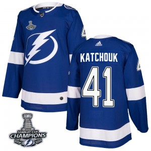 Tampa Bay Lightning Boris Katchouk Official Blue Adidas Authentic Adult Home 2020 Stanley Cup Champions NHL Hockey Jersey