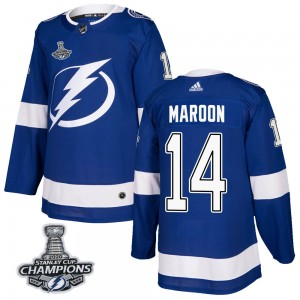 Tampa Bay Lightning Patrick Maroon Official Blue Adidas Authentic Adult Home 2020 Stanley Cup Champions NHL Hockey Jersey