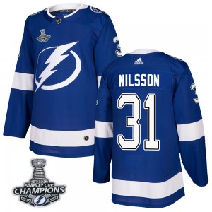 Tampa Bay Lightning Anders Nilsson Official Blue Adidas Authentic Adult Home 2020 Stanley Cup Champions NHL Hockey Jersey
